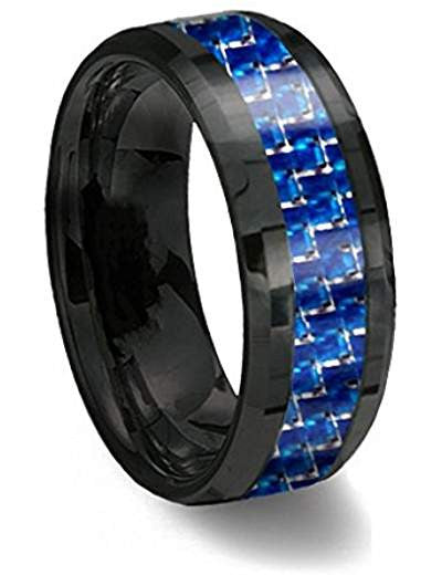 Brand New Edition*** Gorgeous Black and Blue 8mm Tungsten Carbon Fiber Ring