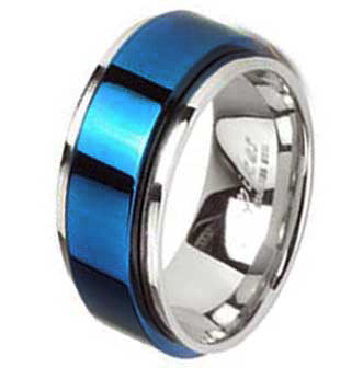 Stainless Steel Thin Blue Line Spinner Ring