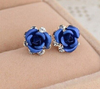 Beautiful Blue Rose Stud Earrings