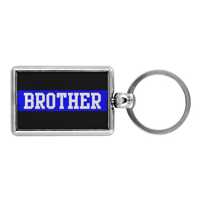 Thin Blue Line Brother Keychain