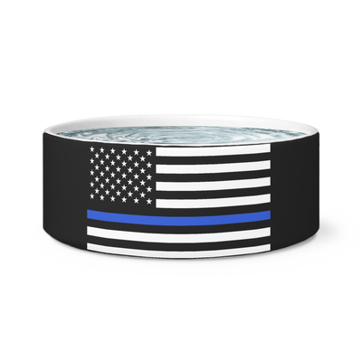Thin Blue Line American Flag Dog Bowl