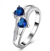Double Heart Blue Line Ring