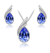 Beautiful Sapphire Blue Crystal Necklace and Earrings Set