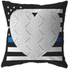 Thin Blue Line USA Heart Personalized Photo Frame Pillow
