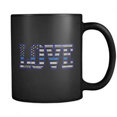 LOVE - Thin Blue Line Flag Mug - Black