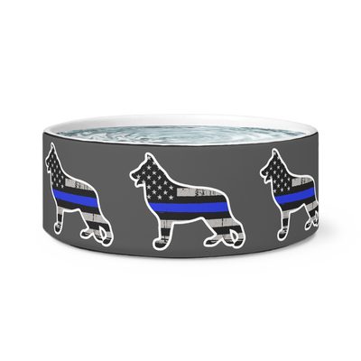 K-9 German Shepherd Thin Blue Line Dog Bowl