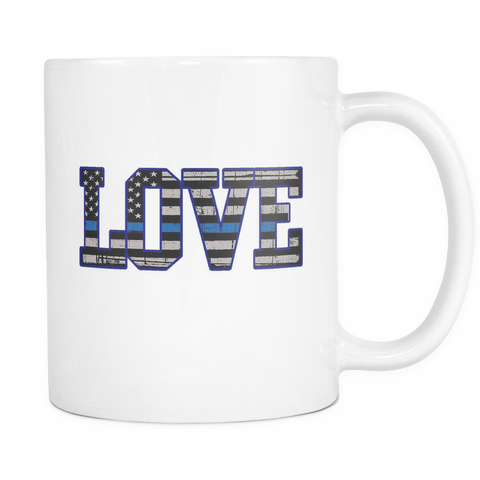 LOVE - Thin Blue Line Flag Mug - White