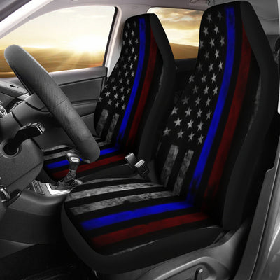Tattered Thin Blue And Red Line Flag Car Seat Covers (Set Of 2)
