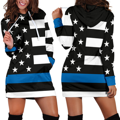 Women's Thin Blue Line Flag Hoodie Dress