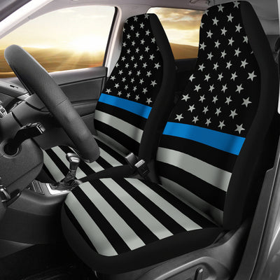 Thin Blue Line Flag Car Seat Covers (set of 2)