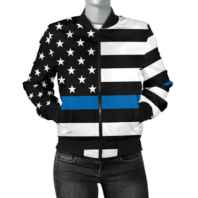 Women's Thin Blue Line American Flag Bomber Jacket