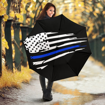 Tattered Thin Blue Line Flag Umbrella
