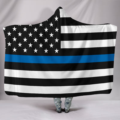 Thin Blue Line Flag Hooded Blanket