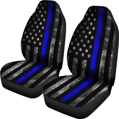 Tattered Thin Blue Line Flag Car Seat Covers (Set Of 2)
