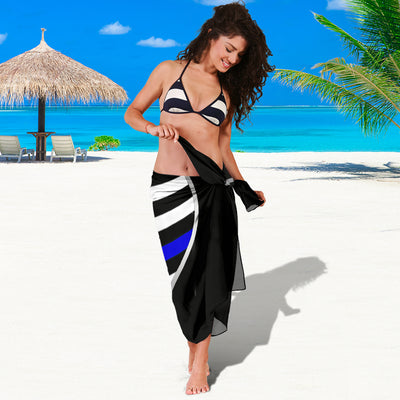 Thin Blue Line Heart Sarong