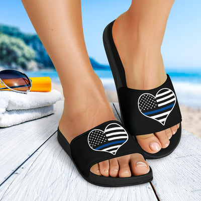 Thin Blue Line Heart Slide Sandals