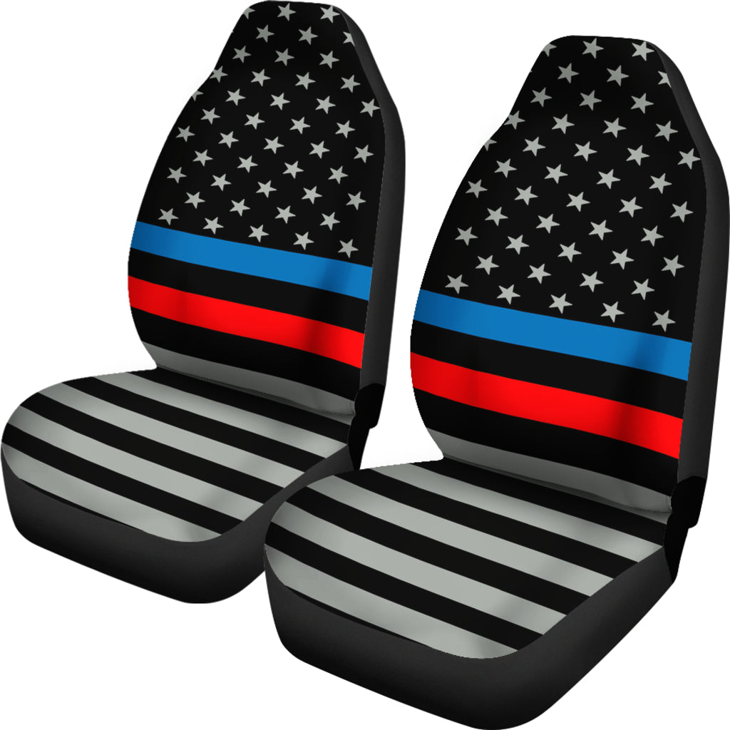 Thin Blue And Red Line Flag Car Seat Covers Set Of 2