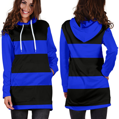 Black and Blue Hoodie Dress