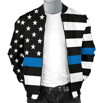 Men's Thin Blue Line American Flag Bomber Jacket