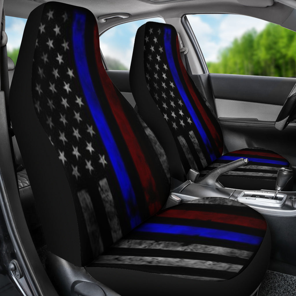 TATTERED THIN BLUE AND RED LINE FLAG CAR SEAT COVERS SET