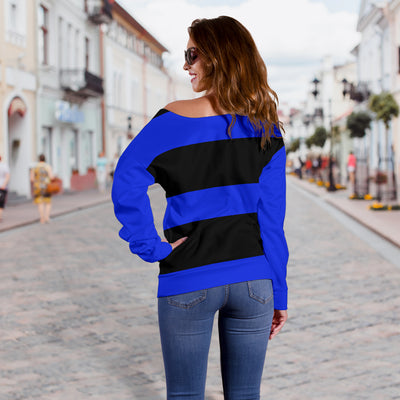 Black and Blue Women's Off Shoulder Sweater