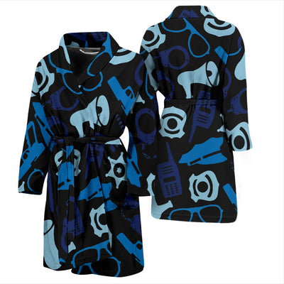 Men's Black Police Accessories Bathrobe