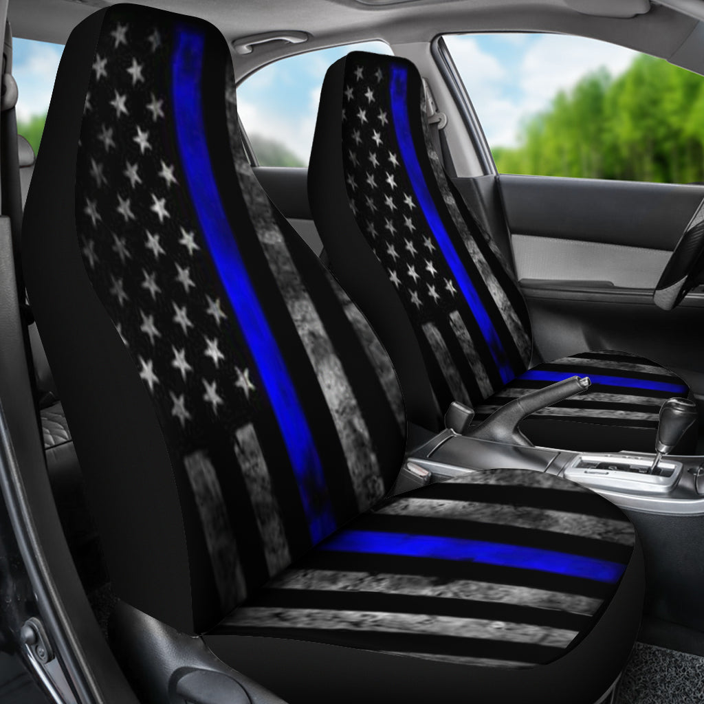 Tattered Thin Blue Line Flag Car Seat Covers Set Of 2