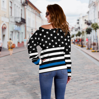 Thin Blue Line Stars and Stripes Women's Off Shoulder Sweater