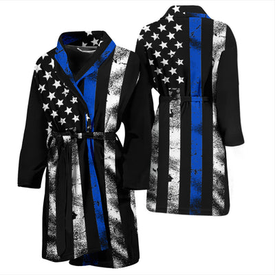 Men's Thin Blue Line American Flag Bathrobe
