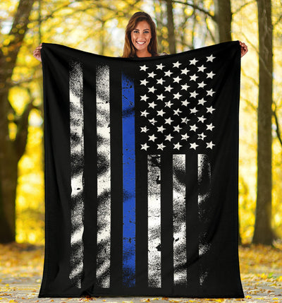 Thin Blue Line Distressed American Flag Blanket