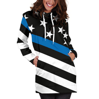 Diagonal Thin Blue Line Flag Hoodie Dress
