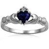 Sterling Silver Claddagh Blue Heart Ring