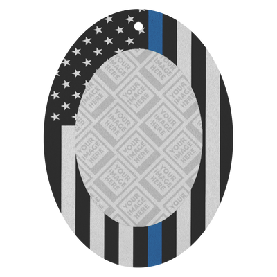 Thin Blue Line USA Flag Personalized Photo Frame Air Freshener - 3 Pack