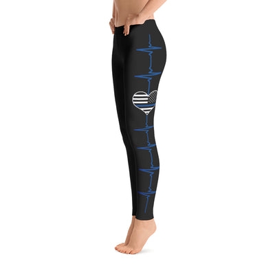 Thin Blue Line Heartbeat Leggings