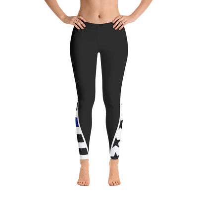 Thin Blue Line Stars and Stripes Below the Knees Leggings