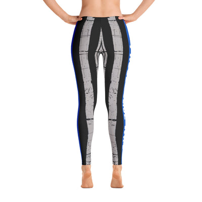 Proud Police Wife Thin Blue Line Flag Leggings