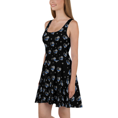Thin Blue Line Hearts Skater Dress