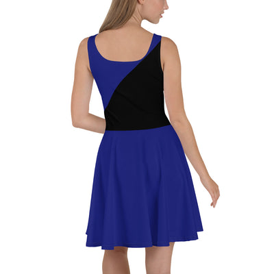 Black and Blue Thin Blue Line Skater Dress