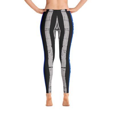 Proud Police Daughter Thin Blue Line Flag Leggings