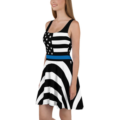 Curved Thin Blue Line American Flag Skater Dress