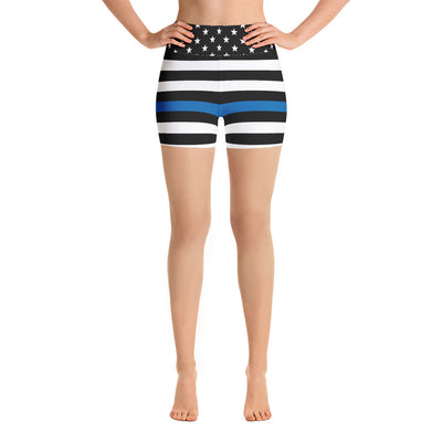 Thin Blue Line Stripes and Stars Yoga Shorts