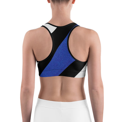 Diagonal Designed Thin Blue Line Sports Bra