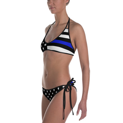 Stars and Stripes Thin Blue Line American Flag Reversible Bikini Swimwear