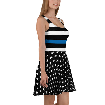 Stars and Striped Thin Blue Line Skater Dress
