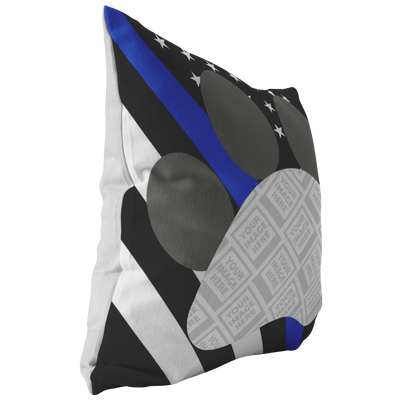 Thin Blue Line K9 Flag Personalized Photo Frame Pillow