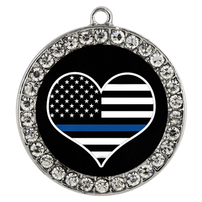 Thin Blue Line Flag Heart Lock and Key