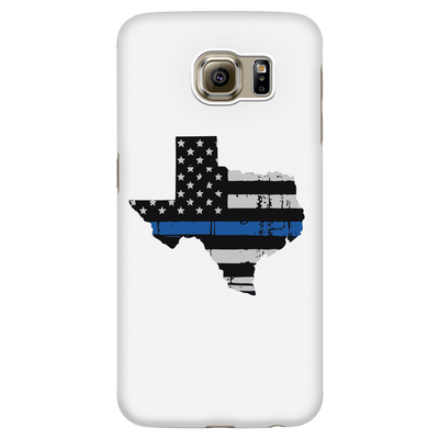 Texas Thin Blue Line American Flag - White Phone Case