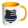 Thin Blue Line American Flag Shield Mug