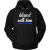 BLESSED WITH HIM / HER BLUE LINE POLICE COMBO COUPLES HOODIE