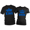 King & Queen Crown Combo Couples Blue Line Shirts